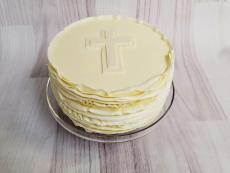Buttercream baptism with cross